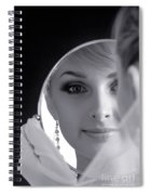 Beautiful Woman In Bridal Veil Looking At A Mirror Spiral Notebook