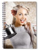 Beautiful Young Retro Woman With Cup Of Coffee Spiral Notebook