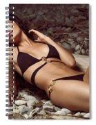 Beautiful Young Woman In Black Bikini On A Pebble Beach Spiral Notebook