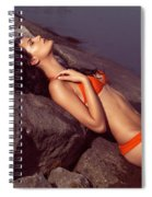 Beautiful Young Woman In Orange Bikini Spiral Notebook