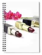 Beauty And Esthetics Care. Lipsticks And Flowers Spiral Notebook