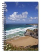 Bedruthan Steps Beach And Atlantic Surf In Summer Sun Cornwall  Spiral Notebook