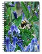 Bee Buzzing Through Blue Beauty Spiral Notebook