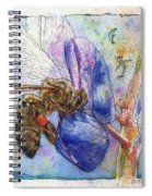 Bee On Blue Lupin Blossom. Spiral Notebook