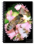 Bee On Pink Flower With Swirly Framing Spiral Notebook