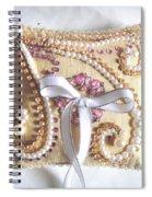 Beige-white Wedding Ring Pillow Spiral Notebook