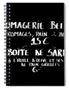 Belgian Cheese And Sardines Menu Spiral Notebook