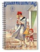 Belgium Ostende Vintage Travel Poster Restored Spiral Notebook