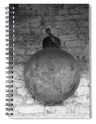 Bell On Bricks B W  Spiral Notebook