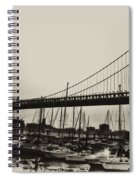 Ben Franklin Bridge From The Marina In Black And White. Spiral Notebook