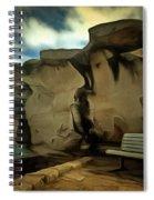 Bench And Huge Overhanging Rock Spiral Notebook