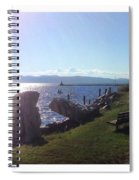 Benches Water Sun And Boat Spiral Notebook