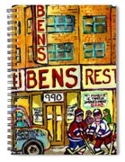 Ben's Famous Smoked Meat Montreal Memories Canadian Paintings Hockey Scenes And Landmarks  C Spandau Spiral Notebook