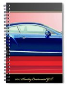 Bentley Continental Gt With 3d Badge Spiral Notebook
