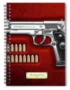 Beretta 92fs Inox With Ammo On Red Velvet  Spiral Notebook