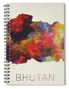 Bhutan Watercolor Map Spiral Notebook