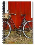 Bicycle In Front Of Red House In Sweden Spiral Notebook