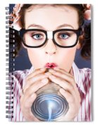 Big Business Kid Making Phone Call With Tin Cans Spiral Notebook