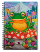 Big Green Frog On Red Mushroom Spiral Notebook