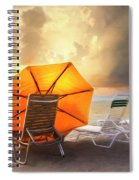 Big Orange Beach Umbrella Watercolor Painting Spiral Notebook