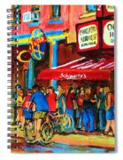 Biking Past The Deli Spiral Notebook
