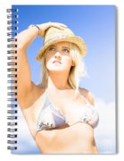 Bikini Lady Against Blue Sky Background Spiral Notebook