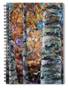 Birch Trees Oil Painting With Palette Knife  Spiral Notebook