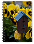 Bird House And Pansies Spiral Notebook