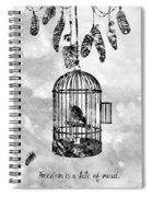 Bird In A Cage-black Spiral Notebook