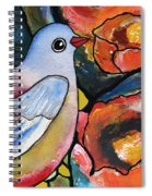 Bird With Prickly Pear Cactus Flowers Spiral Notebook