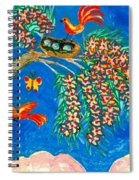 Birds And Nest In Flowering Tree Spiral Notebook