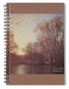Birds Take Flight Over Lake On A Winters Morning Spiral Notebook