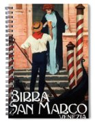 Birra San Marco, Venezia, Italy - Woman With Beer Glass - Retro Travel Poster - Vintage Poster Spiral Notebook