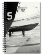 Black And White Boat Reflection Spiral Notebook