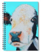 Black And White Cow On Blue Background Spiral Notebook