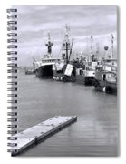 Black And White Fishing Boats On The Dock Spiral Notebook