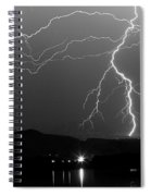 Black And White Massive Lightning Strikes Spiral Notebook