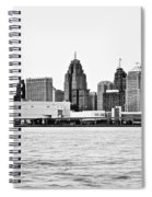 Black And White Motor City Pano Spiral Notebook