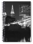 Black And White Panorama Of Cleveland Spiral Notebook