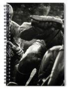 Black And White Photography - Motorcyclists Spiral Notebook