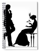 Black And White Silhouette Of A Man Giving A Woman A Flower Spiral Notebook