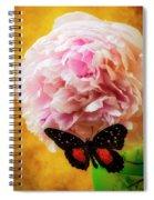 Black Butterfly On Peony Spiral Notebook