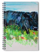 Black Cow Lying Down Painting Spiral Notebook