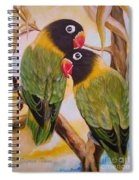 Black Faced Love Birds.  Chloe The Flying Lamb Productions  Spiral Notebook