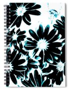 Black Petals With Sprinkles Of Teal Turquoise Spiral Notebook