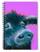 Black Pig Painting On Purple Spiral Notebook