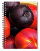 Black Plums And Nectarines In A Wooden Bowl Spiral Notebook