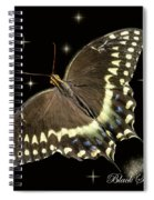 Black Swallowtail On Black Spiral Notebook