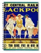 Blackpool, England - Retro Travel Advertising Poster - Three Fashionable Women - Vintage Poster -  Spiral Notebook