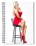 Blond Female Bistro Babe On Bar Stool In Red Dress Spiral Notebook